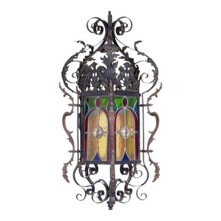 Late 19th Century Wrought Iron Stained Glass Lantern