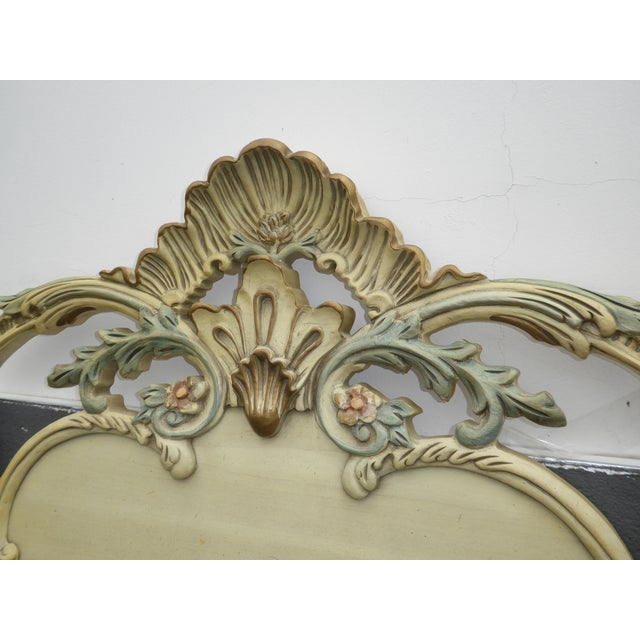 1950s Vintage French Provincial Rococo Chic Shabby Ornate Off White King Headboard W Scrolls For Sale - Image 5 of 10
