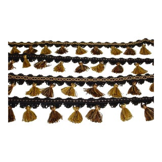Kravet Ta5188 in 84 Jet Black Brass Gold Tassel Fringe Trim - 6-3/4y For Sale