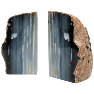 Blue and White Agate or Onyx Marble Bookends, a Pair For Sale
