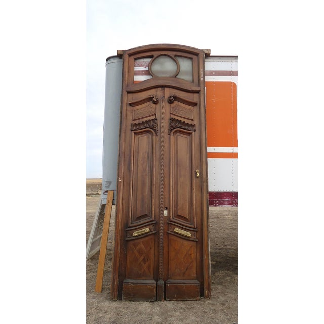 Antique Parquetry Doors with Transom Window For Sale - Image 11 of 12