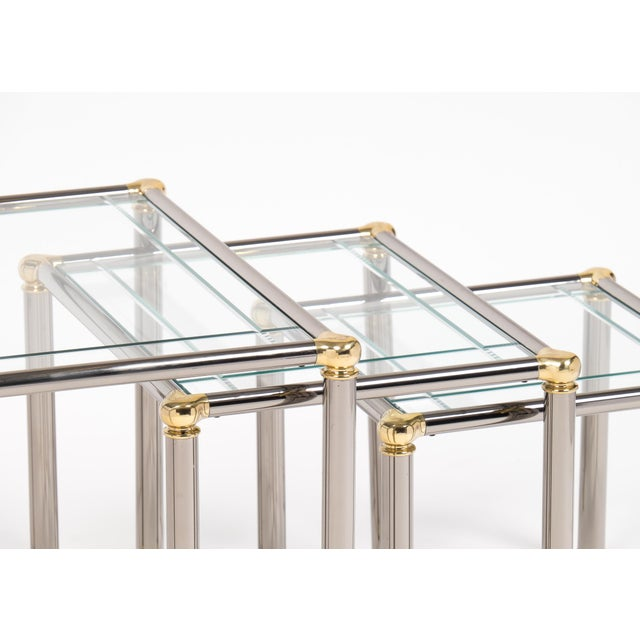 Vintage Set of Gunmetal and Brass Nesting Tables For Sale - Image 5 of 11