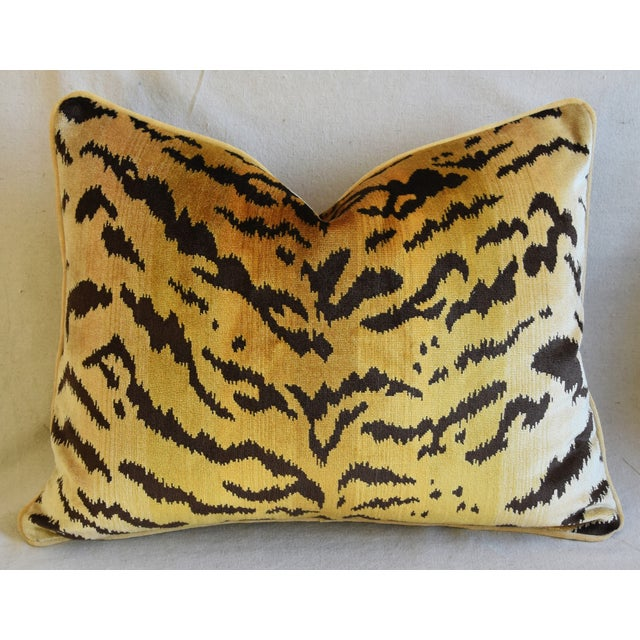 "Cotton Scalamandre Le Tigre Tiger Silk Velvet Feather/Down Pillow 23"" X 18"" For Sale - Image 7 of 8"
