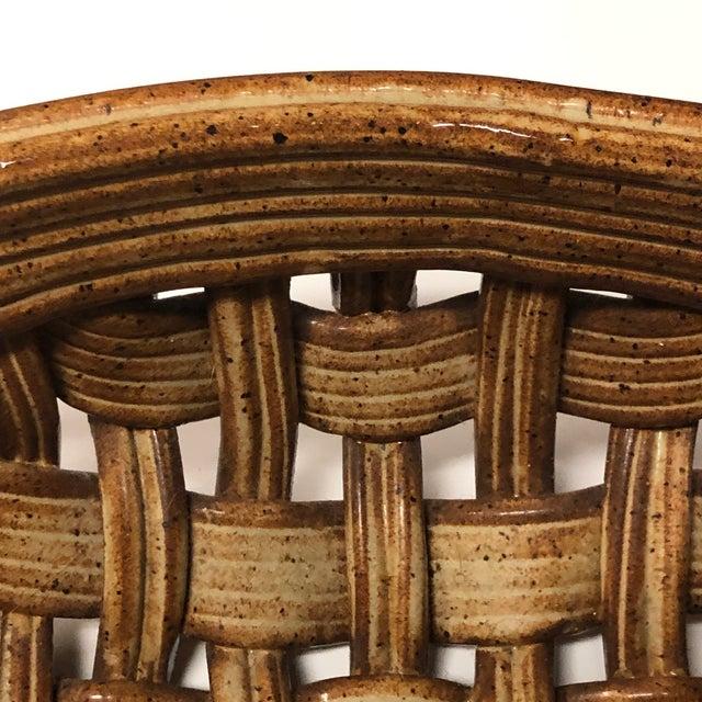 Ceramic Phil Sellers River Hill Pottery Basket Weave Bowl or Platter For Sale - Image 7 of 13