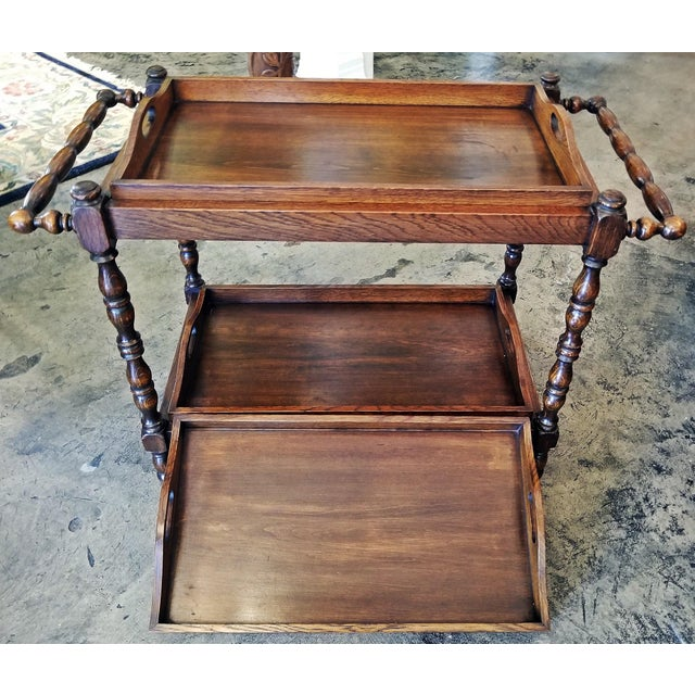 19c British Provincial Oak Butlers Tray Stand With 3 Trays For Sale - Image 11 of 13
