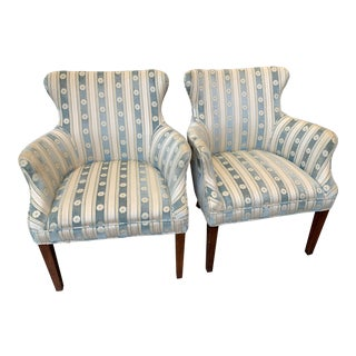 1940s Cream & Blue Velvet Boudoir Chairs - a Pair For Sale