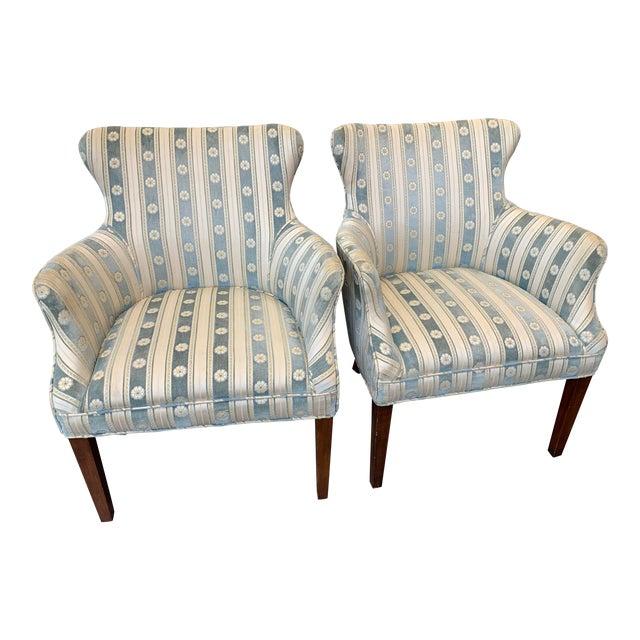 1940s Cream & Blue Velvet Boudoir Chairs - a Pair For Sale