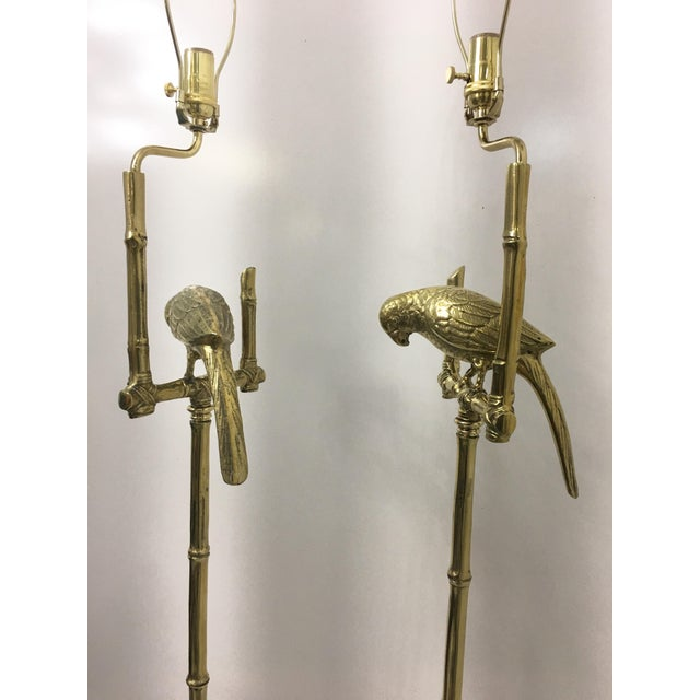 Brass Parrots Floor Lamps, a Pair For Sale In Miami - Image 6 of 7