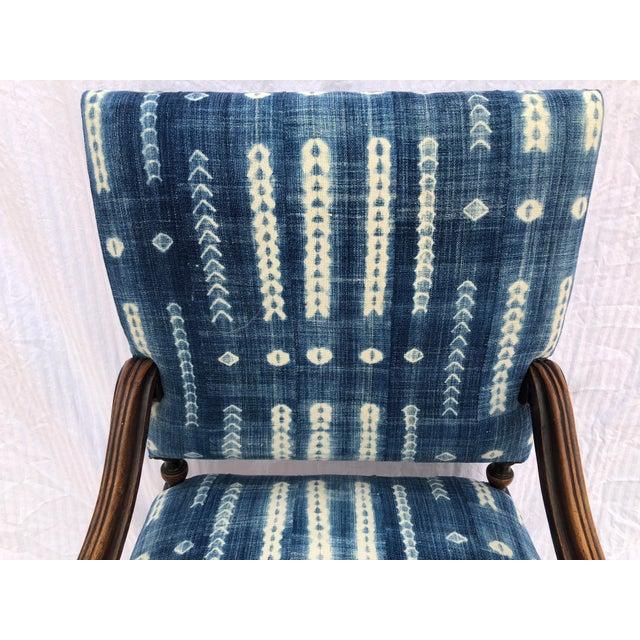 Antique Jacobean-Style Mahogany Mali Indigo Upholstered Armchair - Image 2 of 11