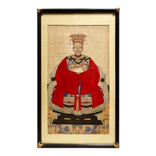 Large Antique Chinese Ancestral Portrait Painting For Sale
