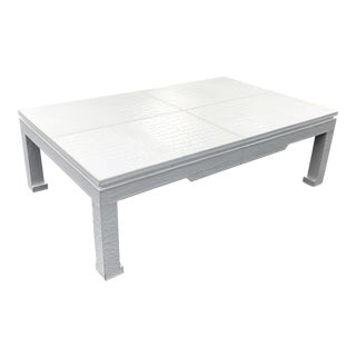 Jonathan Adler Preston White Crocodile Embossed Leather Wrapped Coffee Table For Sale
