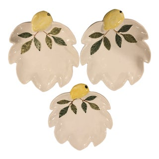 Vintage Italian Majolica Lemon Plates - Set of 3 For Sale