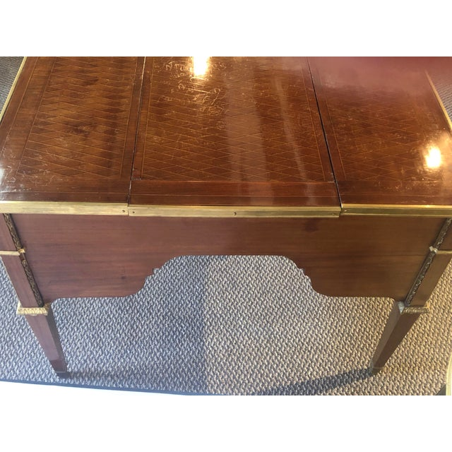 Louis XVI Style Gilt Bronze Parquetry & Marquetry Dressing Table, Desk or Vanity For Sale - Image 4 of 13