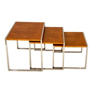 Burled Wood Nesting Tables - Set of 3 For Sale