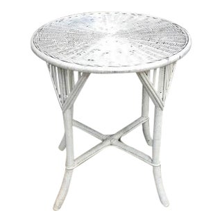 Boho Chic White Wicker Bistro Table For Sale