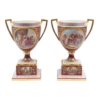 Antique Royal Vienna Porcelain Decorative Urns - a Pair For Sale