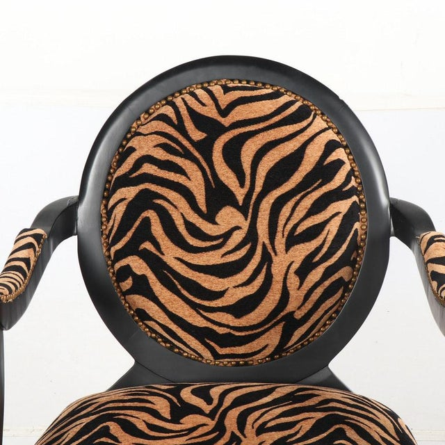 1970s Louis XVI Style Oval Back Fauteuil Armchairs With Animal Print For Sale - Image 5 of 7