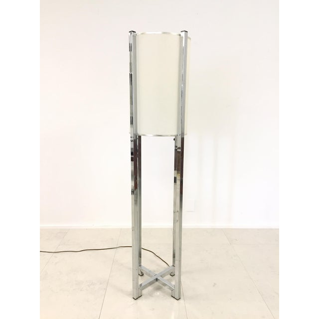 Mid-Century Modern Vintage Chrome Drum Shade Floor Lamp For Sale - Image 3 of 7