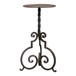 Early 20th Century French Forged and Painted Iron Martini Pedestal Table For Sale
