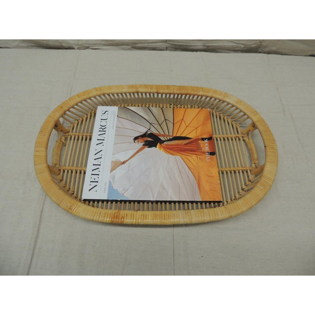Vintage Rattan Woven Oval Serving Tray With Handles For Sale - Image 4 of 6