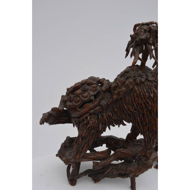 Asian Mid 18th Century Chinese Carved Wood Foo Dogs - a Pair For Sale - Image 3 of 6