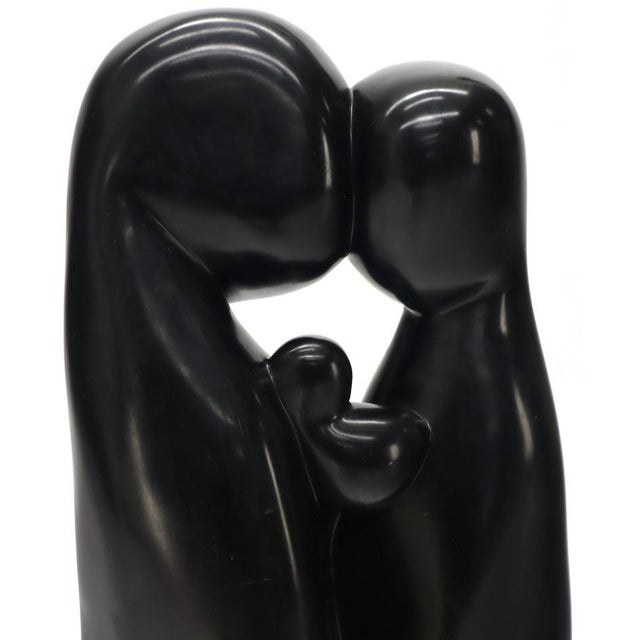 Large Carved and Polished Onyx Sculpture of Mother and Daughter Theme For Sale - Image 9 of 11