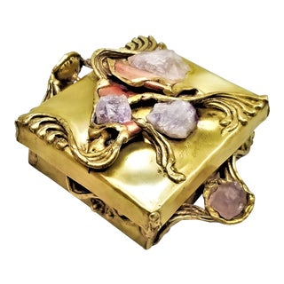 Brutalist Copa Collection Amethyst and Quartz Crystal Brass and Copper Box - Made in Brazil - Signed - Mid Century Modern Boho Chic For Sale