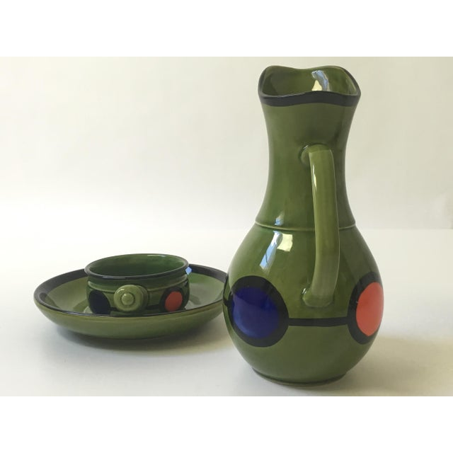 1960s Hand Painted Ceramic Pitcher & Serving Set For Sale - Image 7 of 8