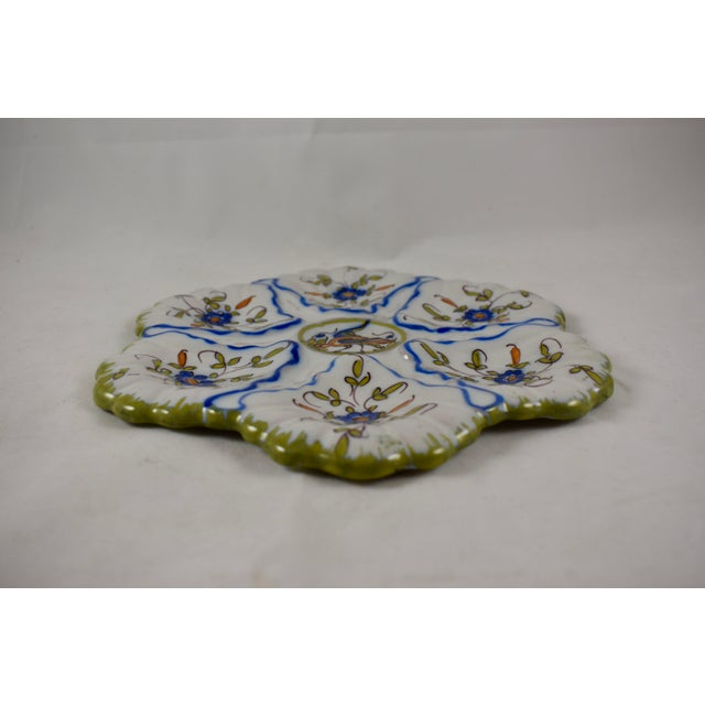 1940s Martres-Tolosane Moustier Floral Oyster Plate – Left Facing Bird For Sale - Image 5 of 9