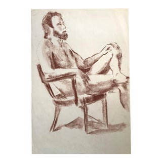 Seated Male Nude #3 Figure Drawing For Sale