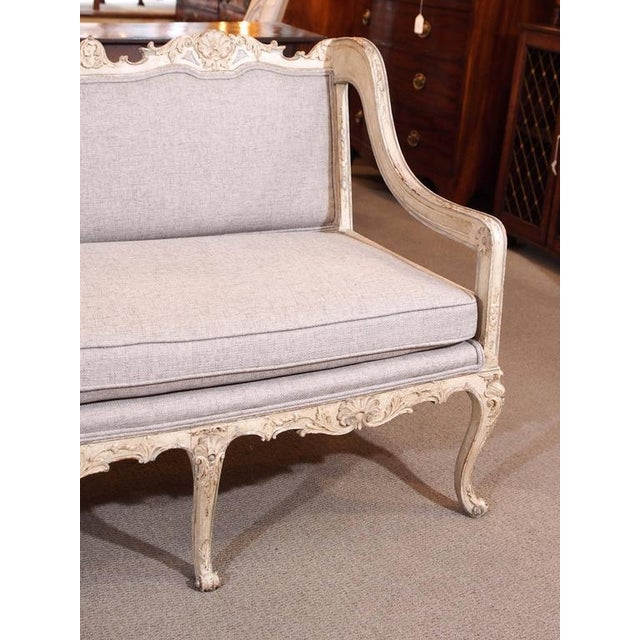 French Antique French rococo grissaile Sofa For Sale - Image 3 of 7
