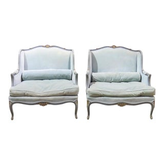 Louis XV Style Turquoise Painted and Gilt Oversized Lounge Chairs - A Pair