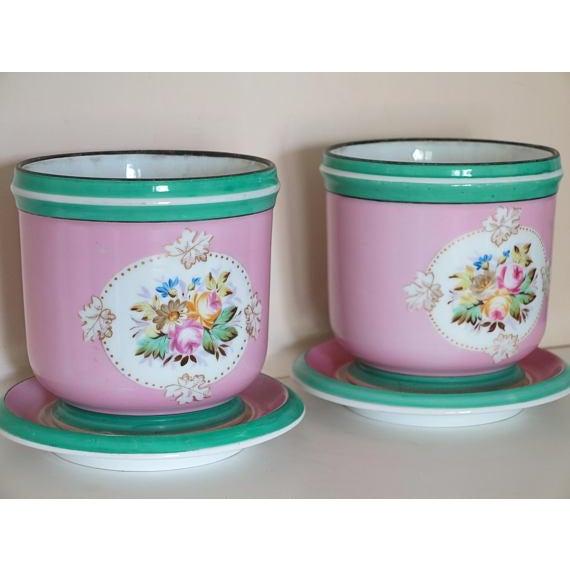 1850 Old Paris Floral Motif Porcelain Cache Pots Planters - a Pair ...