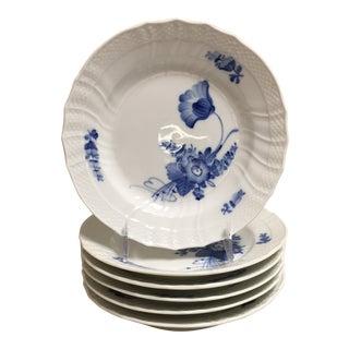 Royal Copenhagen Blue Floral Salad/Dessert Plate - Set of Six For Sale