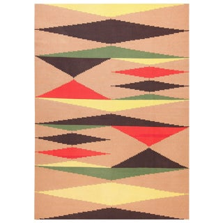 Vintage French Art Deco Black Red, Yellow, Green and Cream Kilim Rug - 8″ × 11″ For Sale