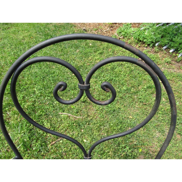 Woodard Parisian Style Wrought Iron Patio Outdoor Bistro Cafe Set- 3 Pieces For Sale - Image 9 of 11