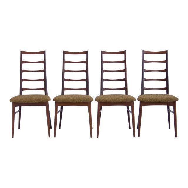 Set of Koefoeds Hornslet Teak Ladder Back Dining Chairs For Sale