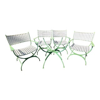 1960s Mid-Century Modern Lime Green Brown Jordan Dining Table Base & 4 Chairs For Sale