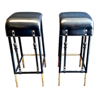 Pair of Jacques Adnet Bar Stools, C. 1950s For Sale