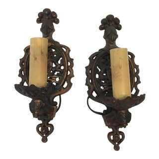 Vintage Knight Motif Candle Holders - a Pair For Sale