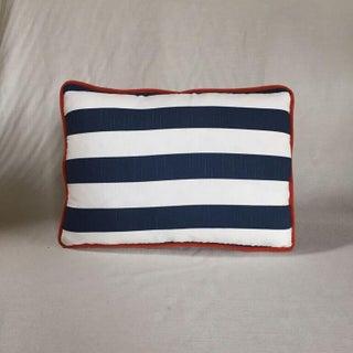 Kim Salmela Navy & White Striped Pillow with Orange Welt Preview