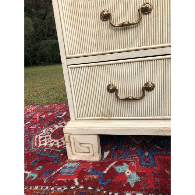 Hickory White Chest With Flutted Drawers and Greek Key Legs For Sale In Charleston - Image 6 of 13