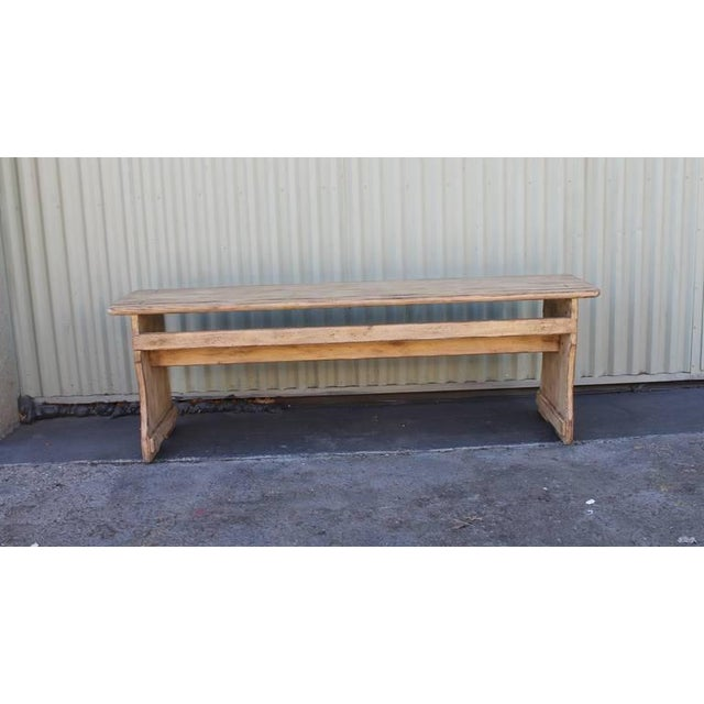 Early American 19th Century Cream Painted Bucket or Farm Bench from Pennsylvania For Sale - Image 3 of 9