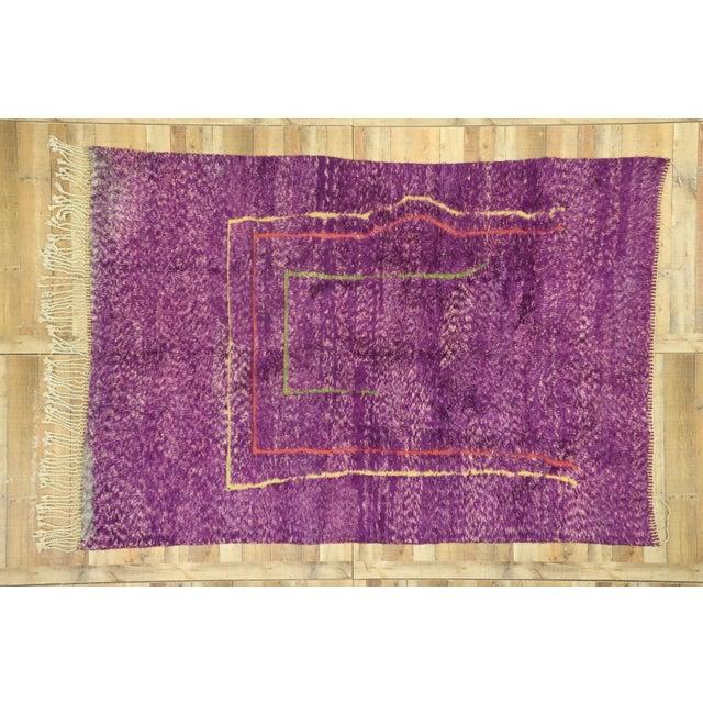 Purple Purple Berber Contemporary Moroccan Rug - 06'10 X 10'00 For Sale - Image 8 of 10