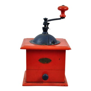 Decorative Red Antique Coffee Grinder
