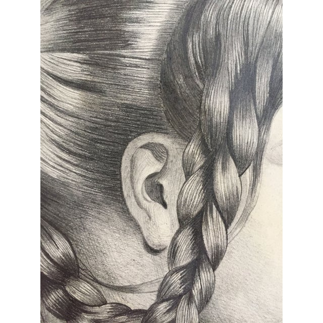 Mid 19th Century Antique French Master Drawing of Woman in Braids For Sale - Image 5 of 5