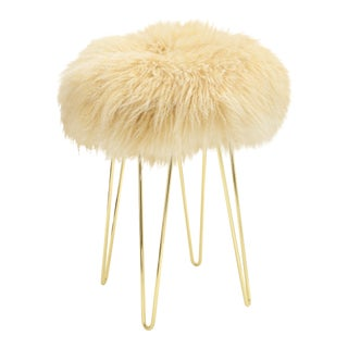 Curly Tipped Beige Hairpin Brass Counter Stool For Sale