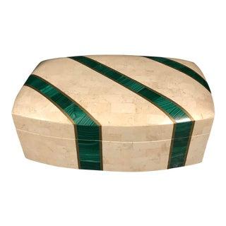Vintage Tessellated Stone Malachite Lidded Box