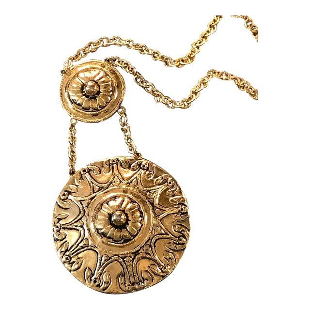 Vintage 1970s Egyptian Revival Modernist Gold Two Medallion Pendant Statement Necklace For Sale