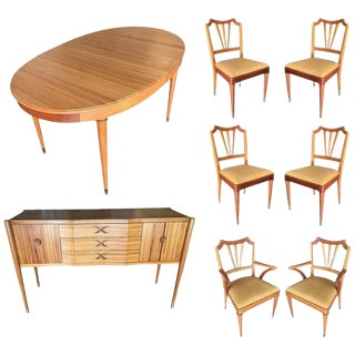 Formal Midcentury Dining Room Set Table, Chairs, Buffet For Sale